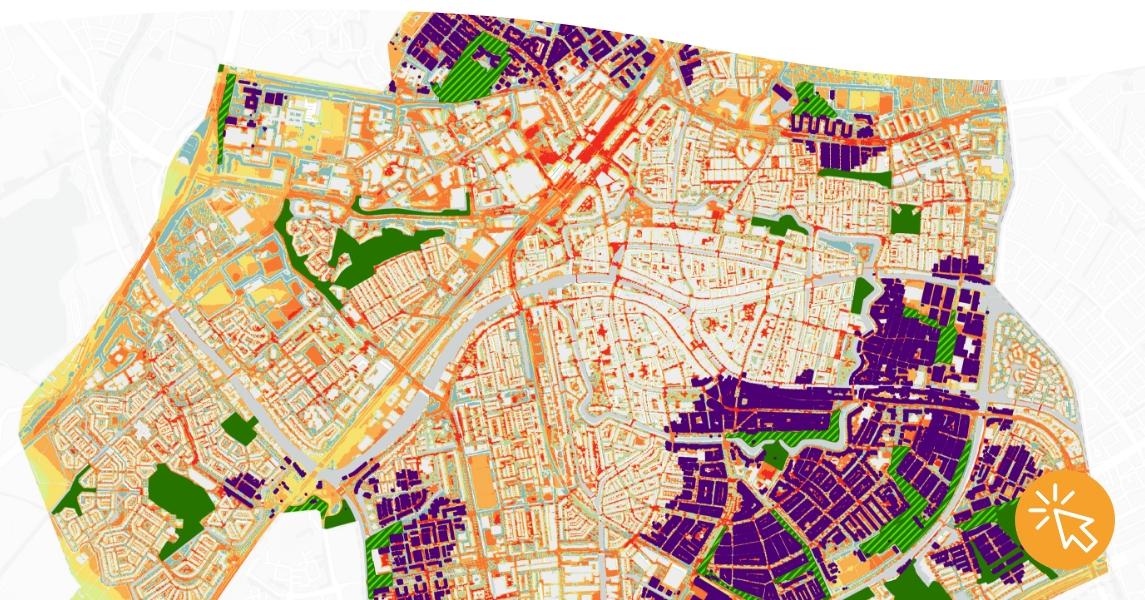 Kaart koele plekken Leiden