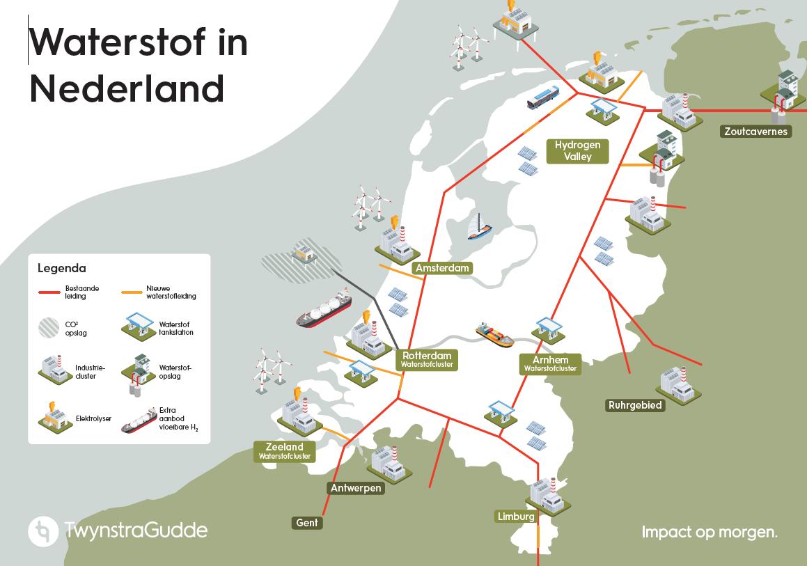 Kaart Waterstof in NL